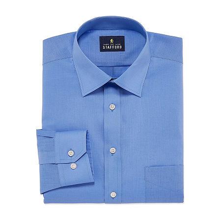 Stafford Mens Travel Easy-Care Broadcloth Stretch Regular Fit Dress Shirt, 16 36-37, Blue