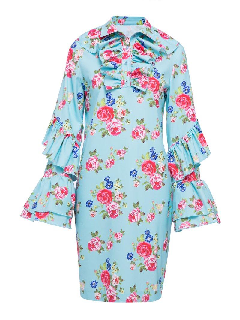 Ericdress Polo Neck Falbala Patchwork Floral Bodycon Dress