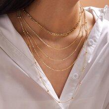 1pc Bead Decor Layered Necklace