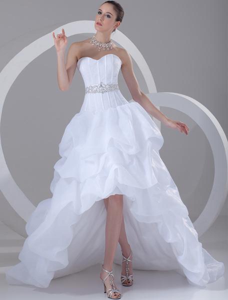 Milanoo White Wedding Dress Strapless High Low Bridal Dress Rhinestones Beading Ruched Sweetheart Neckline Wedding Gown