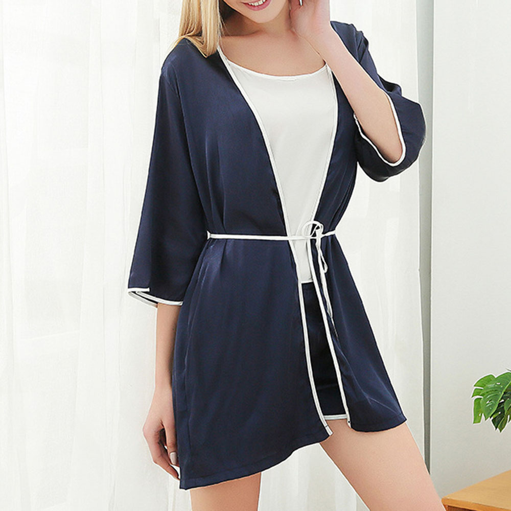 Comfortable Smooth Chiffon Lace-Up Women's Pajama Suit Night-robe