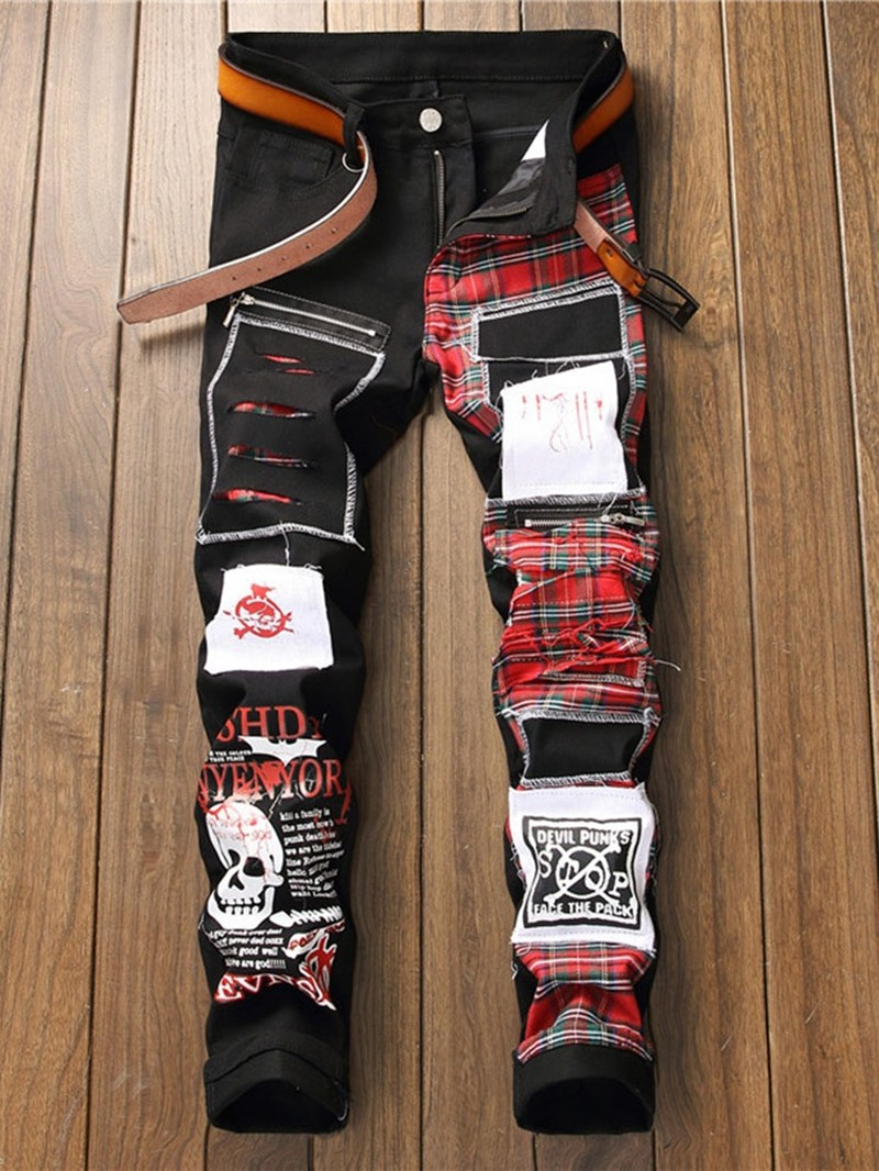 Ericdress Pencil Letter Pocket High Waist European Men's Jeans