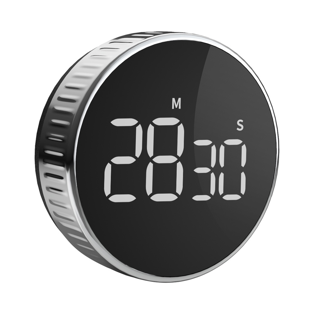 Hommini Round Magnetic Timer LCD Display Beep Alarm Max Setting 99 Minutes For Kitchen Cooking Reminder - Black