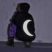 Moon Print Zip Up Drawstring Oversized Hoodie