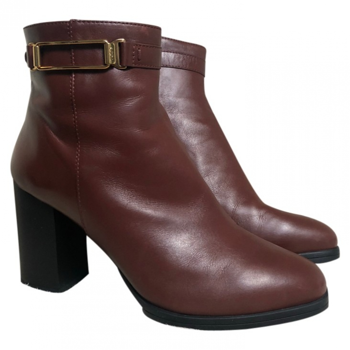 Tod's \N Burgundy Leather Ankle boots for Women 38.5 EU