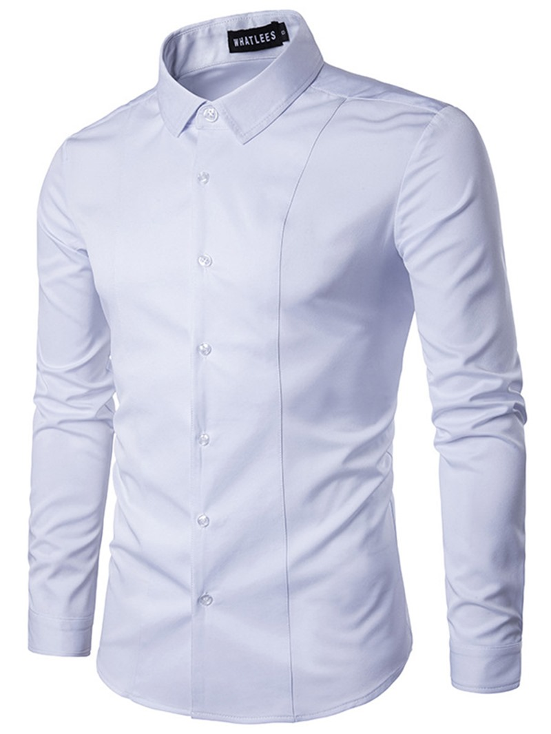Ericdress Plain Lapel Mens Single-Breasted Shirt