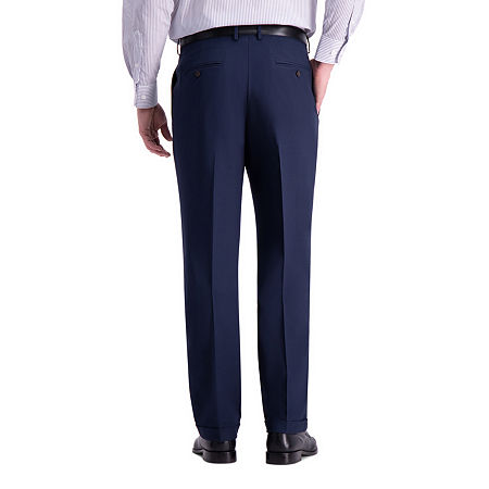 Haggar Premium Comfort Dress Pant Classic Fit Pleated, 32 32, Blue