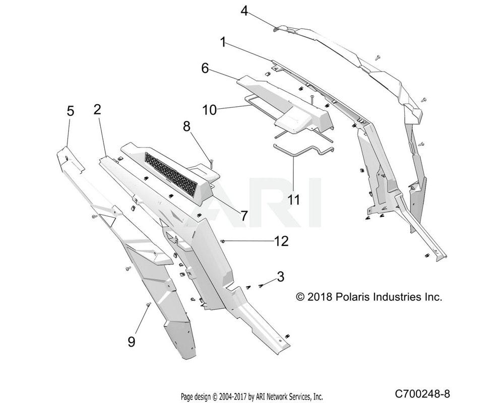 Polaris OEM 2635126-686 ASM-FNDR, PNT, RR, CLIP, RH, MIL TN | [INCL. QTY 6 OF 3][R99AZ][R99BZ]