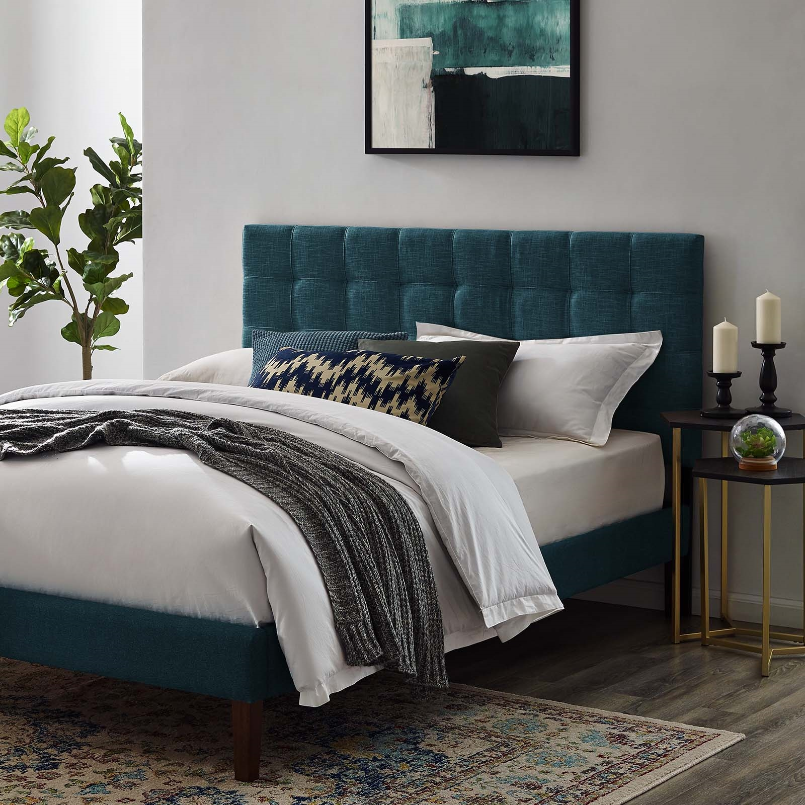 Paisley Tufted King and California King Upholstered Linen Fabric Headboard in Azure