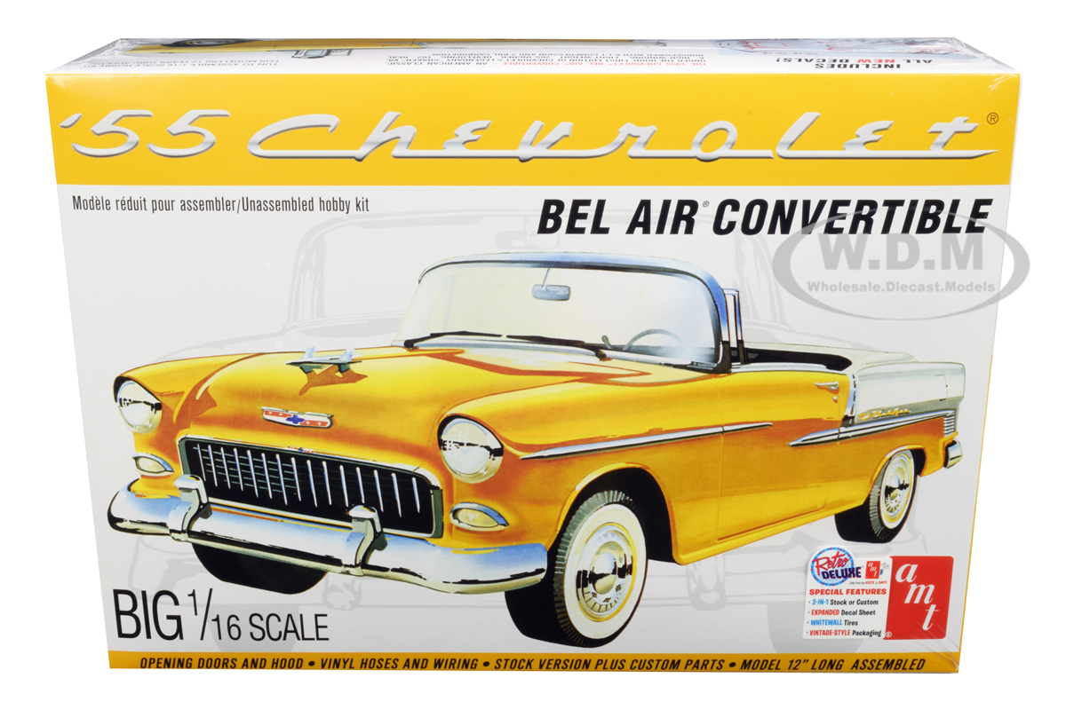 Skill 3 Model Kit 1955 Chevrolet Bel Air Convertible 2 in 1 Kit 1/16 Scale Model by AMT