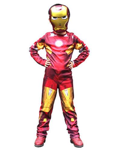 Milanoo Halloween Kids Costume Boys Red Iron Man Cosplay Roman Knit Jumpsuit With Mask Halloween