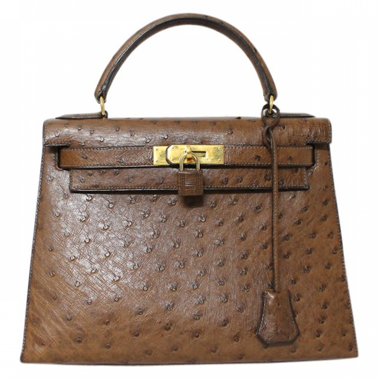 Hermès Kelly 28 Brown Ostrich handbag for Women \N