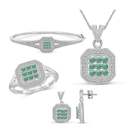 1/7 CT. T.W. Genuine Green Emerald Sterling Silver 4-pc. Jewelry Set, 8 , No Color Family