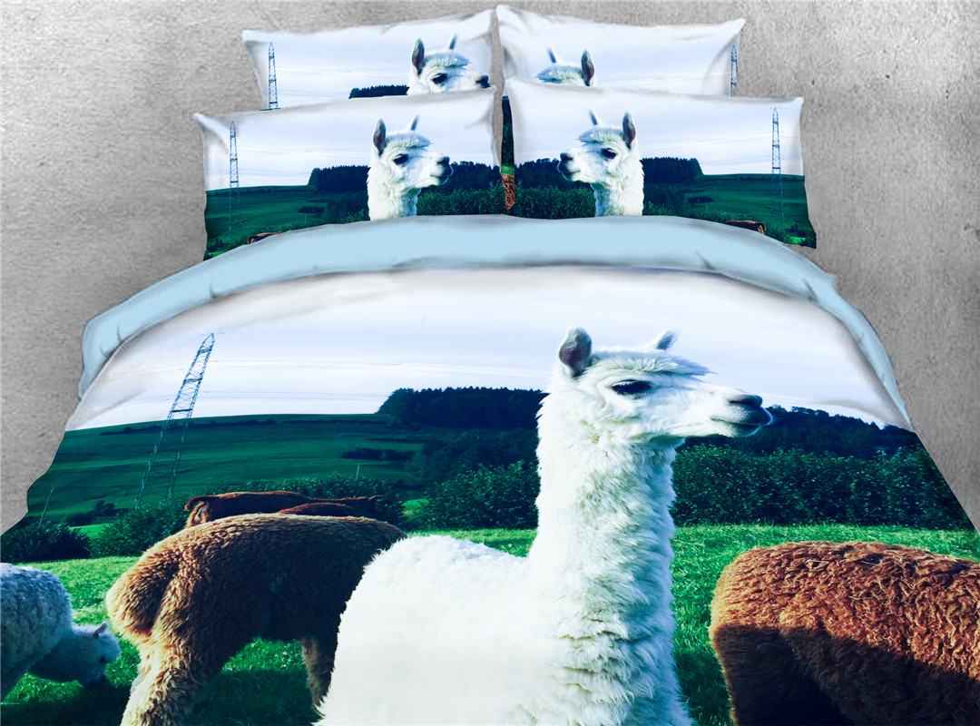 Sheep Four-Piece Set Reactive Printing Hand Wash Duvet Cover Set Polyester Bedding Sets King Twin Full Queen Colorfast Wear-resistant