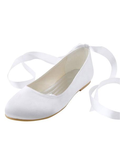 Milanoo White Wedding Shoes Silk Round Toe Ribbons Lace Up Slip On Bridal Flat Pumps