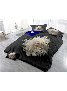 Disordered White Fur Dog Wear-resistant Breathable High Quality 60s Cotton 4-Piece 3D Bedding Sets