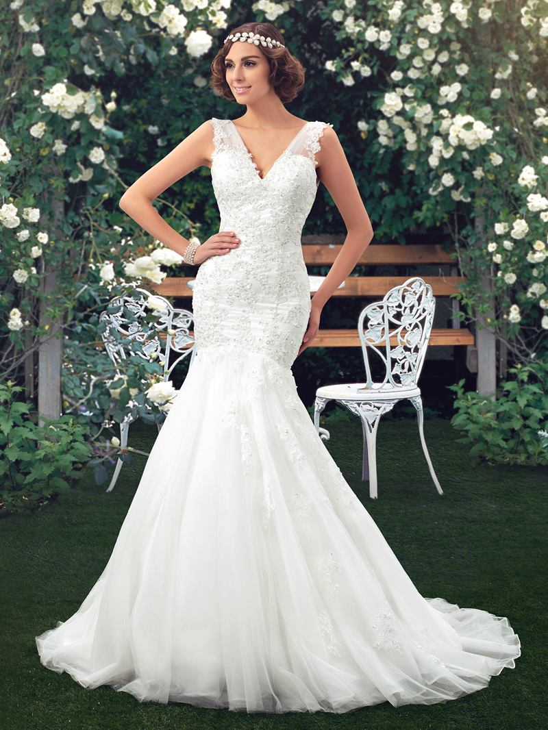 Ericdress V-Neck Sequins Appliques Mermaid Wedding Dress
