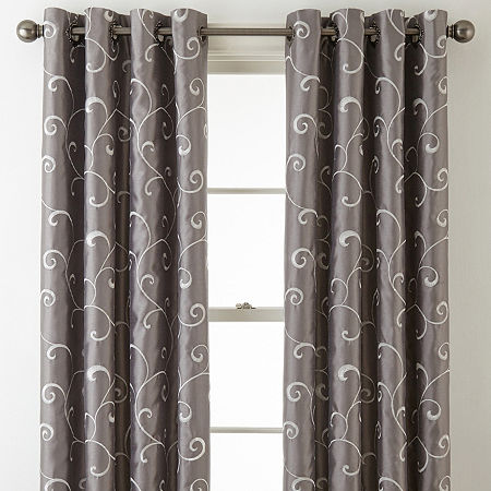JCPenney Home Plaza Embroidery Blackout Grommet-Top Curtain Panel, One Size , Gray