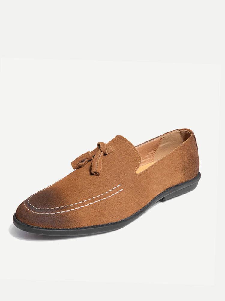 Men Tassel Decoration Pointed Toe Stylish Slip On Casual Loafers