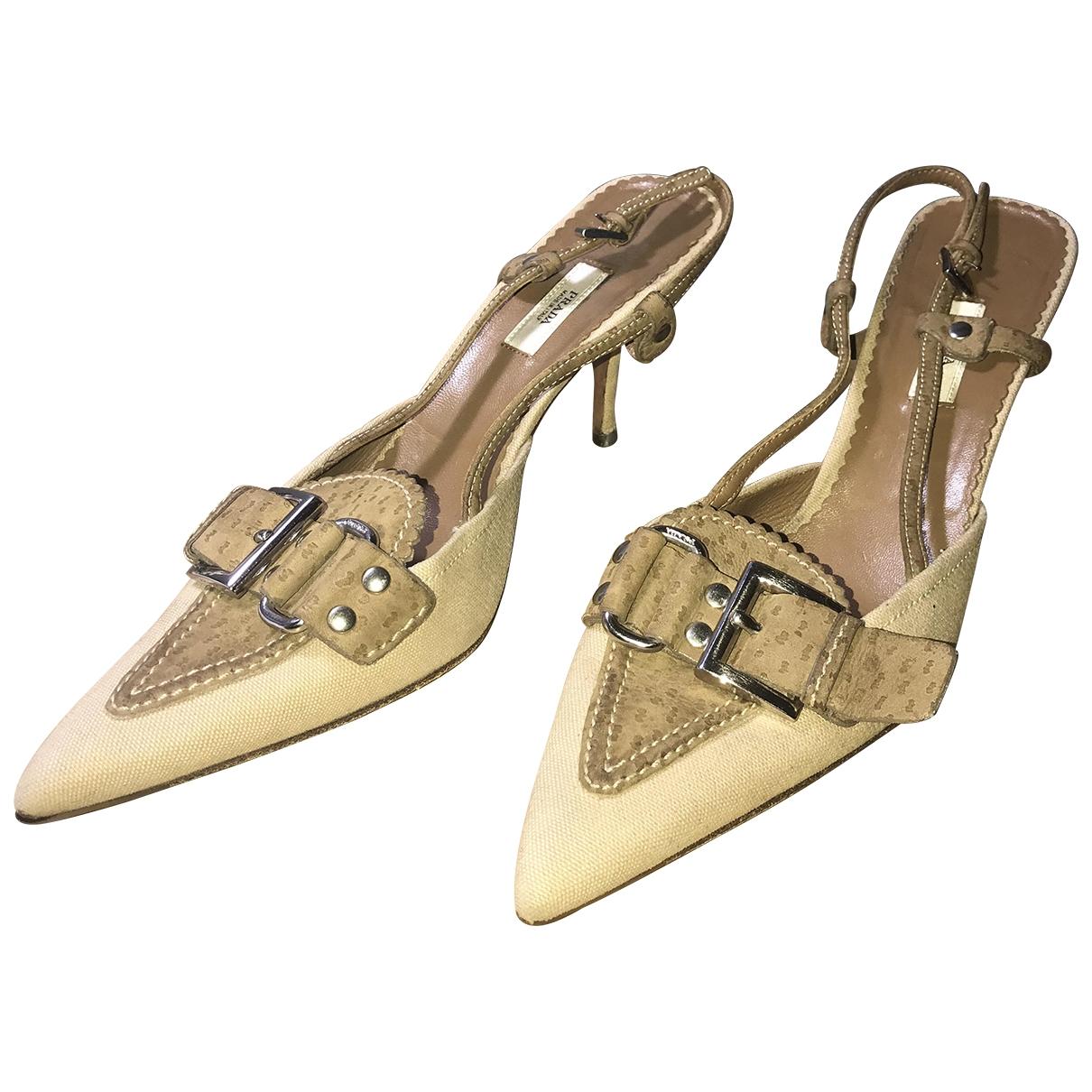 Prada \N Beige Cloth Mules & Clogs for Women 38 EU