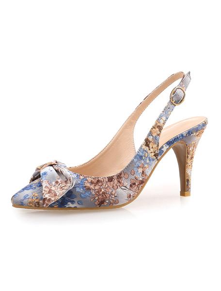 Milanoo Women's Evening Shoes Pointed High Heel Sandals Handmade Floral Print Stiletto Heel
