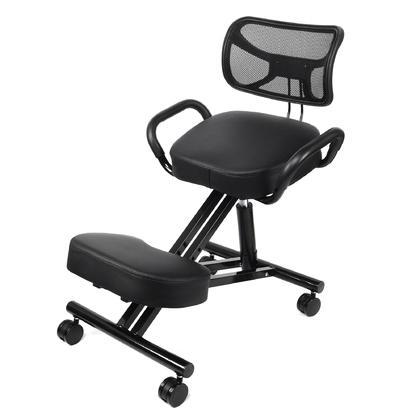 Chaise de bureau ergonomique réglable à genoux, noir - Moustache®