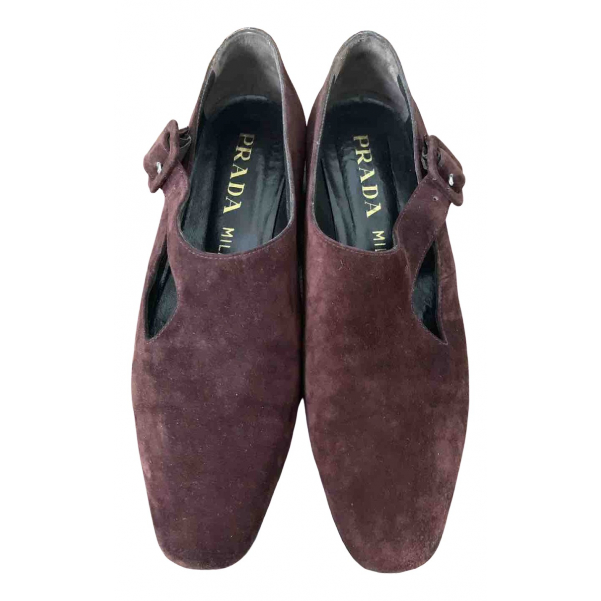 Prada \N Burgundy Suede Flats for Women 37 EU
