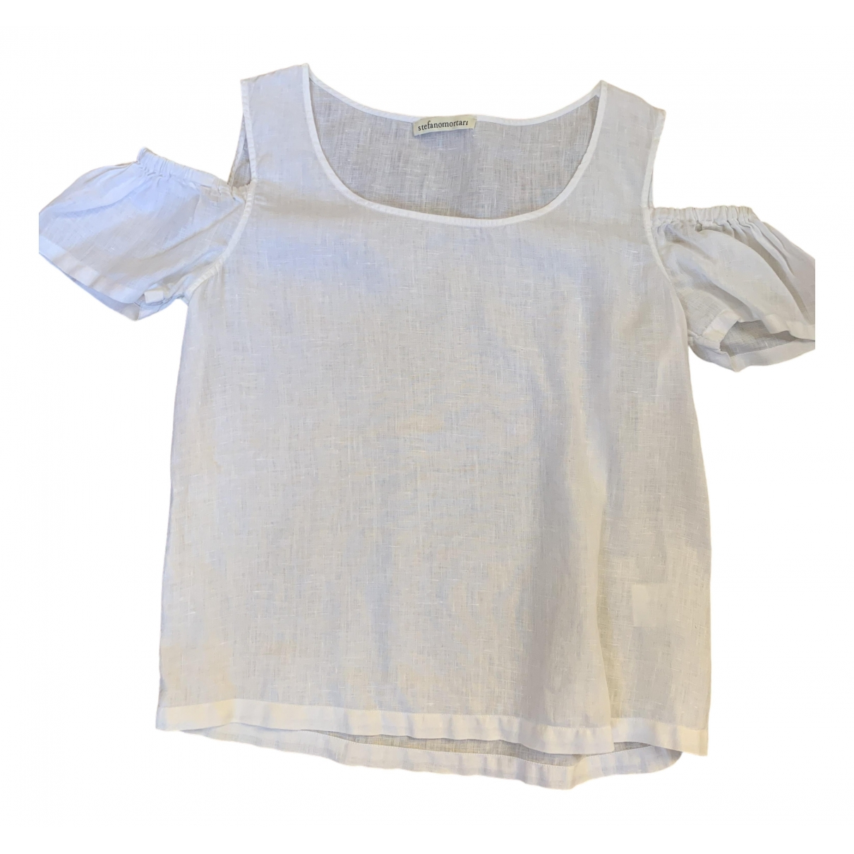 Non Signé / Unsigned \N White Linen  top for Women 42 IT