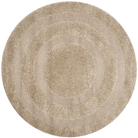 Safavieh Shag Collection Smith Solid Round Area Rug, One Size , Beige