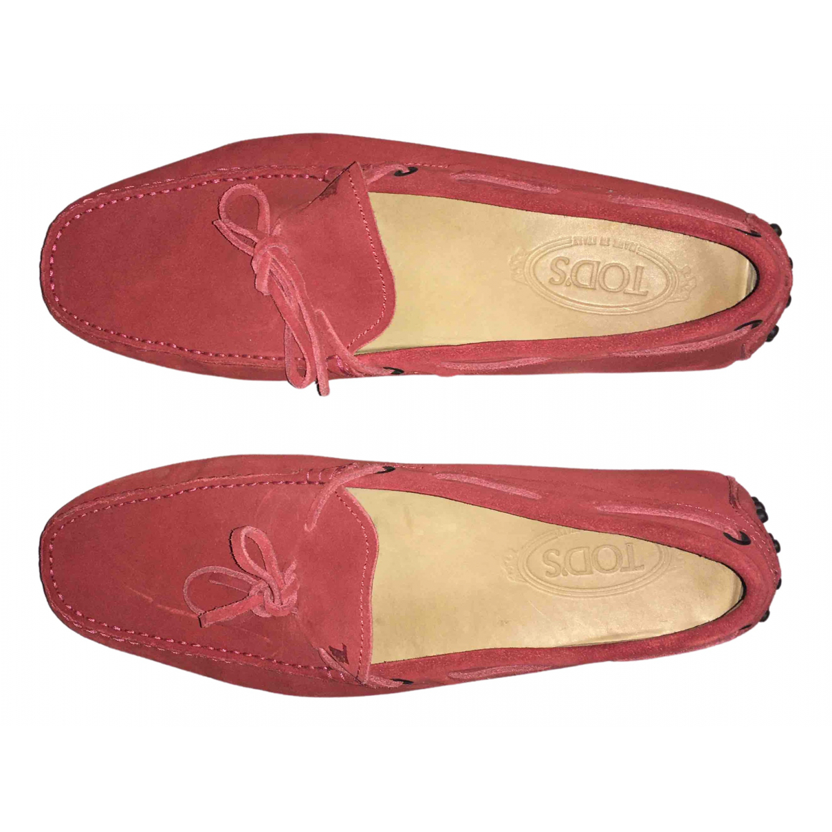 Tod's Gommino Red Suede Flats for Men 10 UK