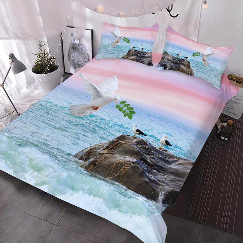 The Dove Of Peace On The Sea Under The Pink Sky Printed 3-Piece Comforter Sets