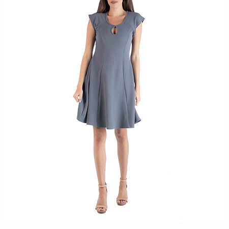 24/7 Comfort Apparel Keyhole Neck A Line Dress, X-large , Gray