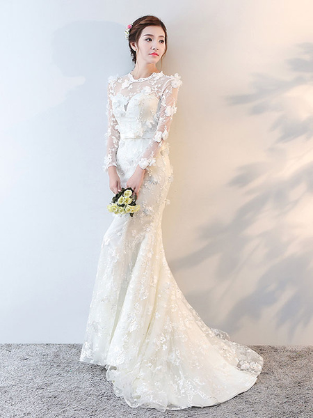 Milanoo Wedding Dresses Long Sleeve Mermaid Flowers Applique Bows Ivory Bridal Dress With Train