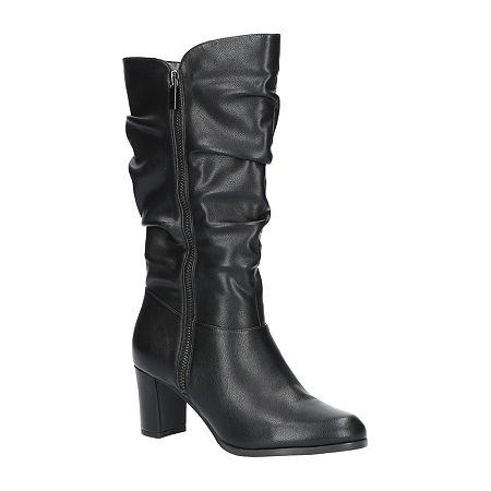 Easy Street Womens Mara Slouch Boots Block Heel, 6 1/2 Wide, Black
