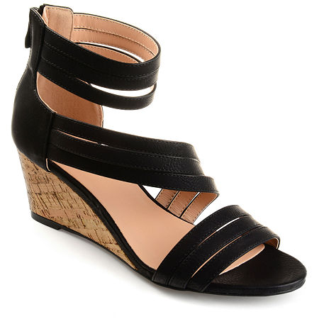 Journee Collection Womens Loki Zip Open Toe Wedge Heel Pumps, 9 Medium, Black