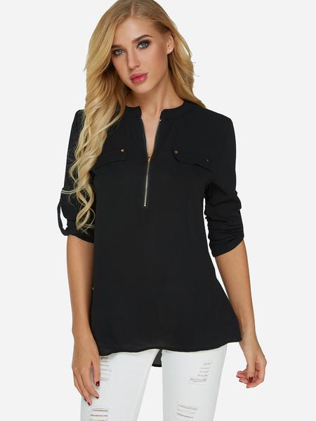 Yoins Black Zip Design V-neck Adjustable Length Sleeves Blouse