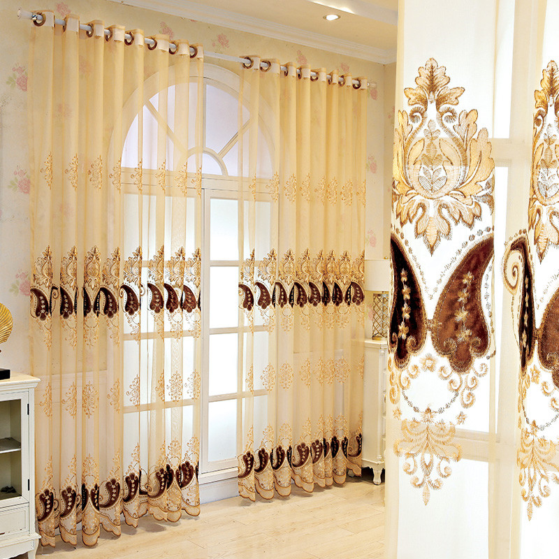 Luxury Embroidered Custom Living Room Bedroom Sheer Curtains Breathable Voile Drapes No Pilling No Fading No off-lining