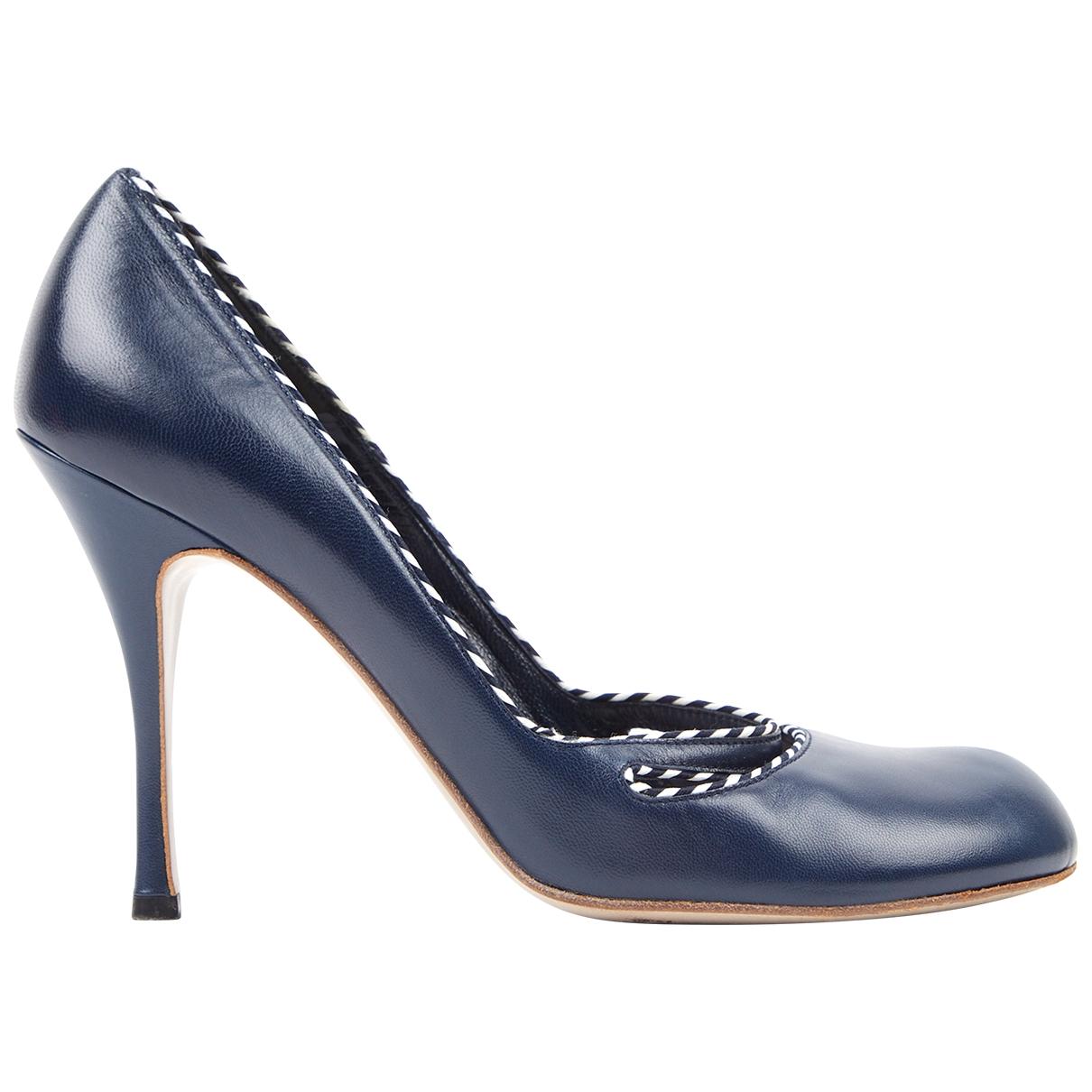 Alexander Mcqueen \N Navy Leather Heels for Women 40 EU