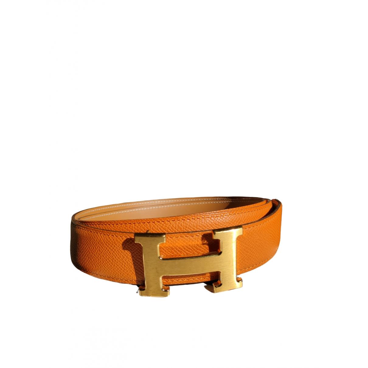Hermès H Orange Leather belt for Men 90 cm