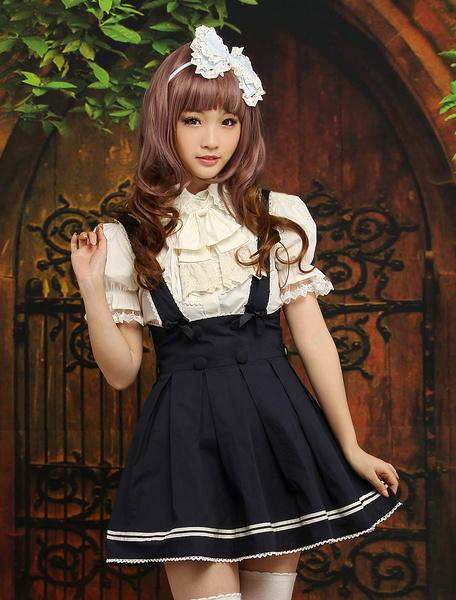 Milanoo Navy Blue Cotton Lolita Skirt Salopette Beige Stripe