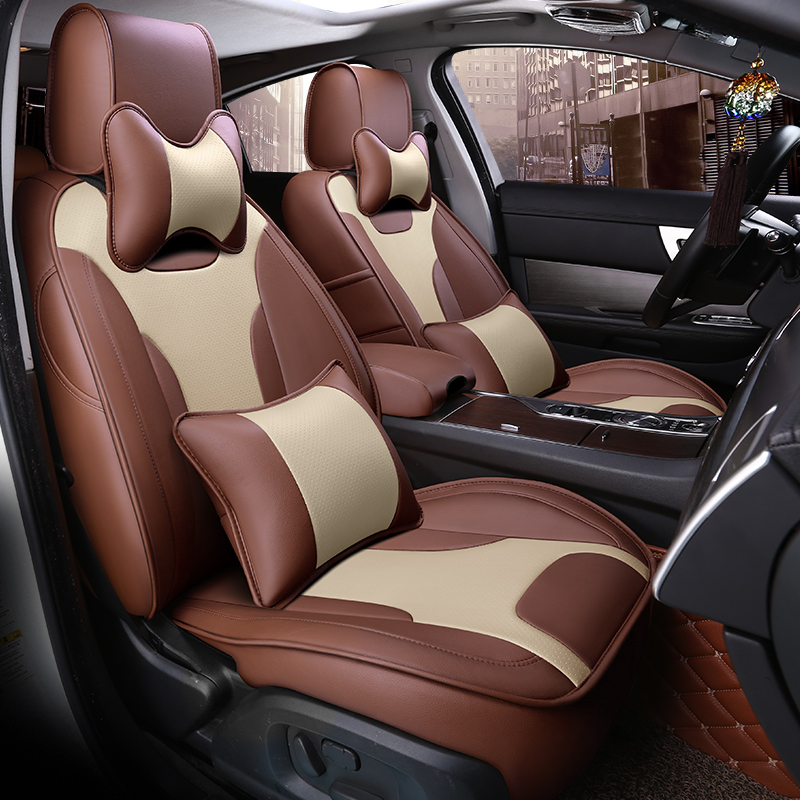 Modernistic Business Style Color Blocking Leather Custom Seat Cover