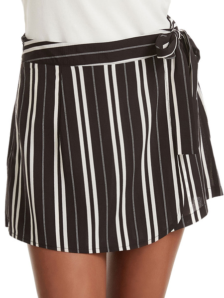 Milanoo Women Shorts Casual Lace Up Stripes Polyester Summer Short