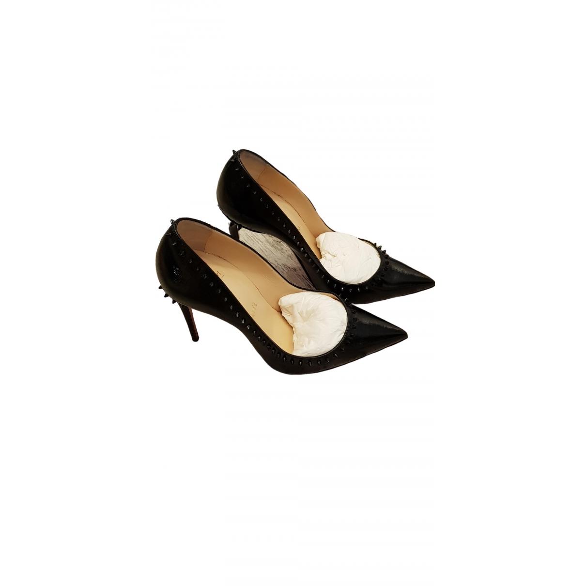 Christian Louboutin Anjalina Black Leather Heels for Women 37 IT