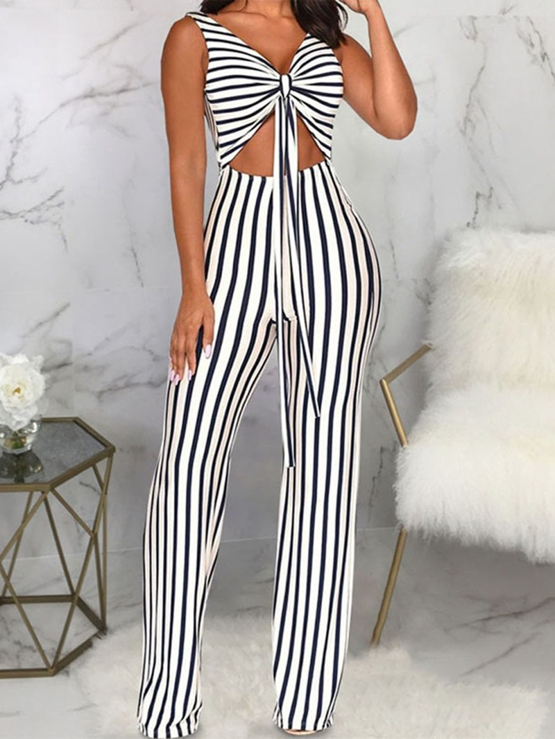 Ericdress Stripe Sexy Office Lady Slim Lace-Up Jumpsuit