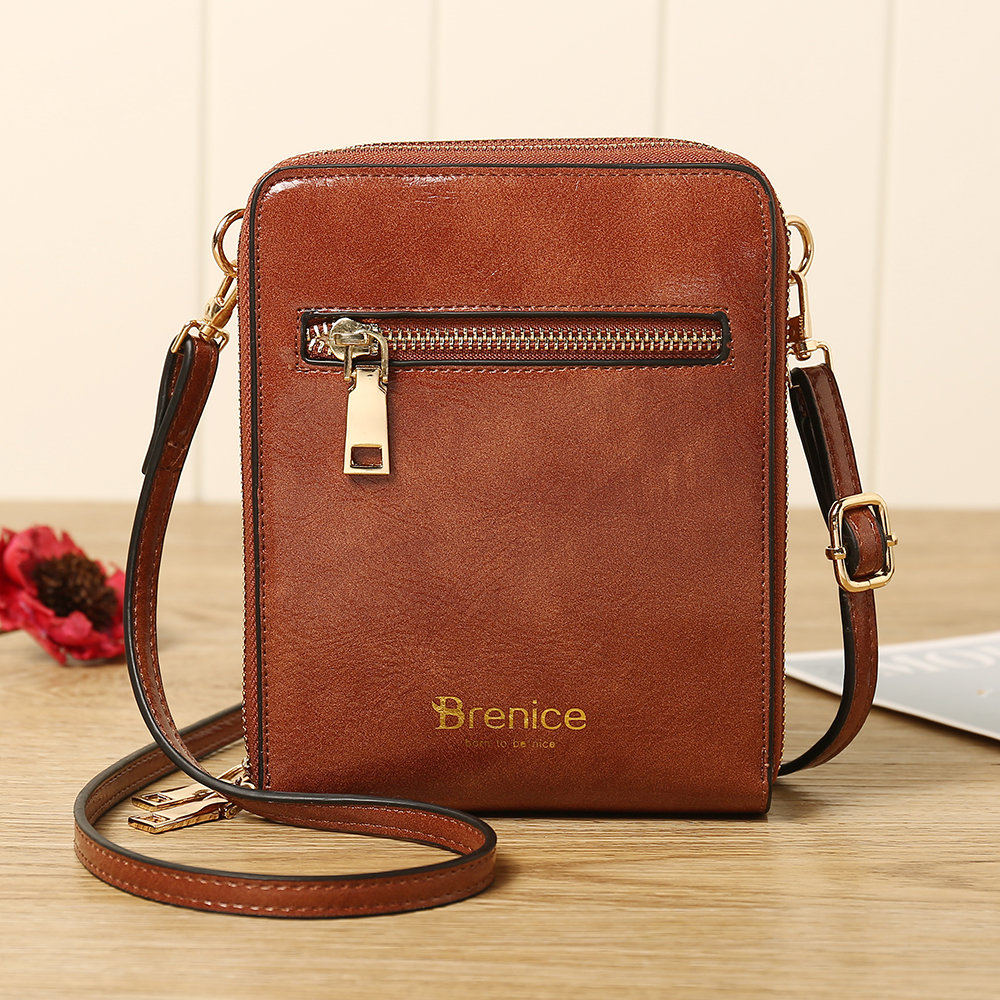Women Design Multifunction Phone Bag Oil Wax Leather Crossbody Bag