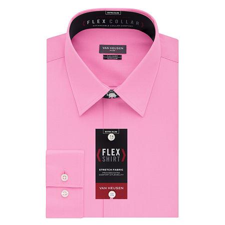 Van Heusen Flex Collar Extra Slim Stretch Long Sleeve Dress Shirt, 14.5 32-33, Pink