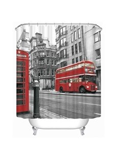 3D Red Bus and Phone Booth Printed Polyester Bathroom Shower Curtain