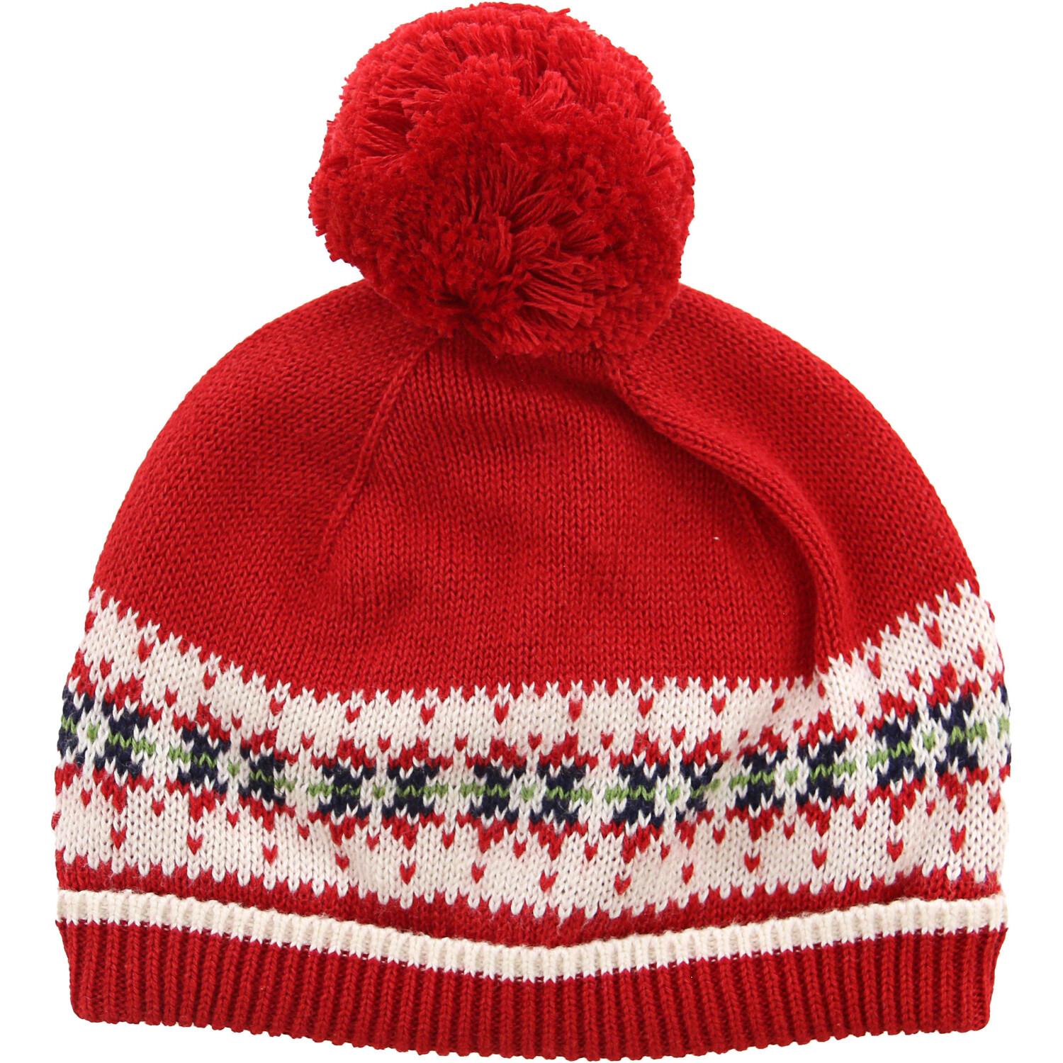 Janie And Jack Fair Isle Beanie With Pompom Hats & Cap - 3-6 Months - Red / Multicolored