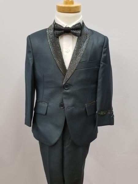 Mens Shawl Lapel Four Piece Kid's Suit Navy