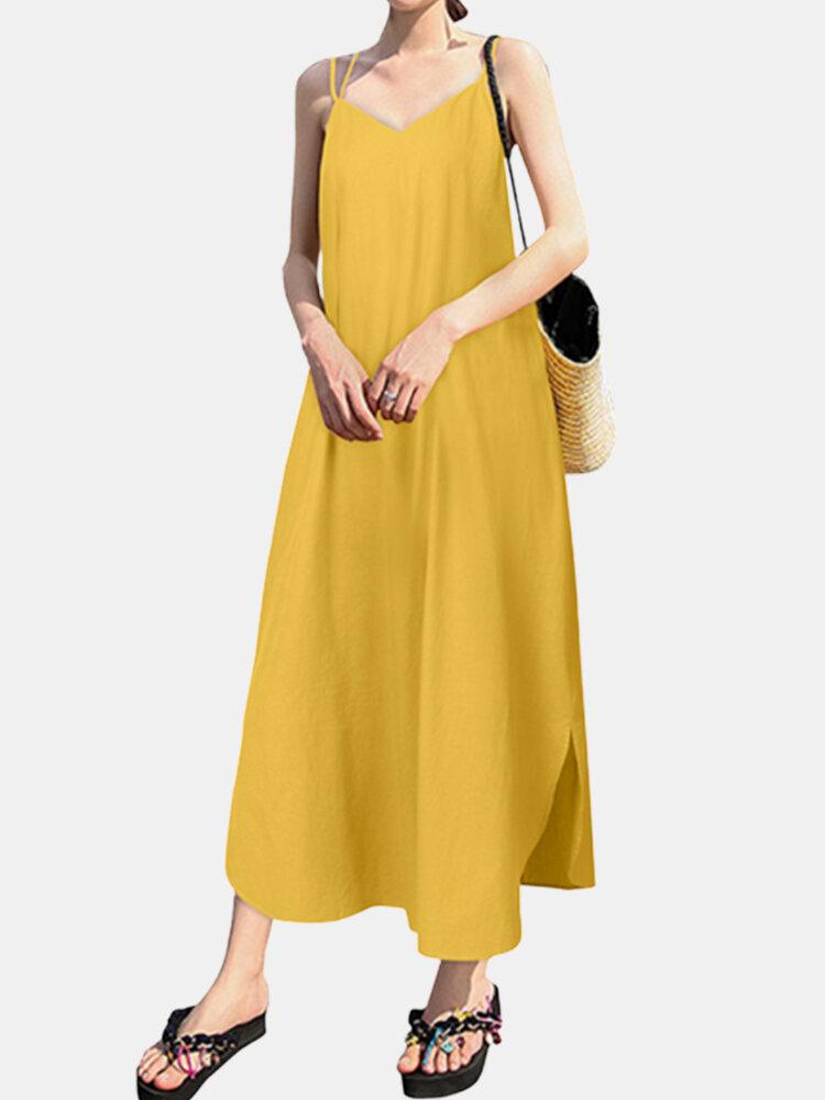 Casual Split Straps Solid Color Dress